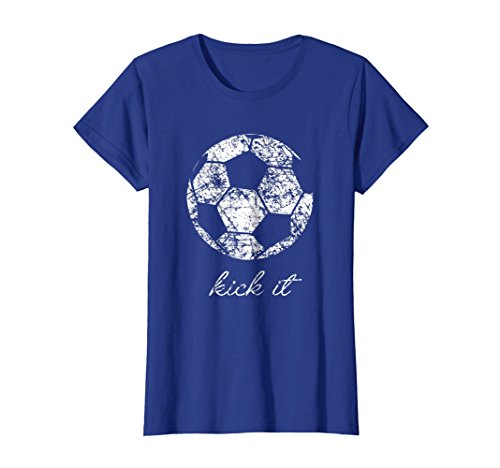 - Womens Kick It Soccer Ball Shirt, Game Day Soccer Mom Sport Gift Small Royal Blue
