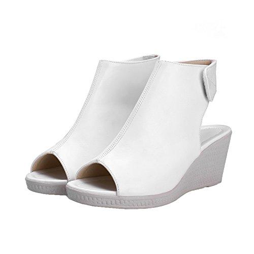 Correct Sandales PU Petite à Talon Femme AgooLar Cuir Velcro Blanc Ouverture w4xqgnX