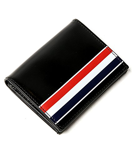 wiberlux-thom-browne-mens-striped-detail-glossy-real-leather-card-wallet-one-size-black