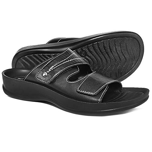 AEROTHOTIC Orthotic Comfort Dual Strap Sandals and Flip Flops with Arch Support for Comfortable Walk (US Women 7, Tinkle Black) Adjustable Width Arch Support Sandal