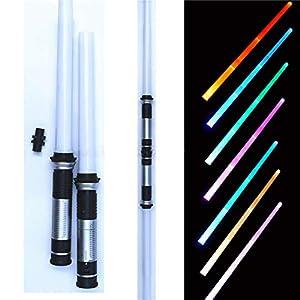 Riiai 2PCS Star Wars The Rise of Skywalker Foldable Retractable Lightsword Double-Side Lightsaber Colorful Lightsaber…