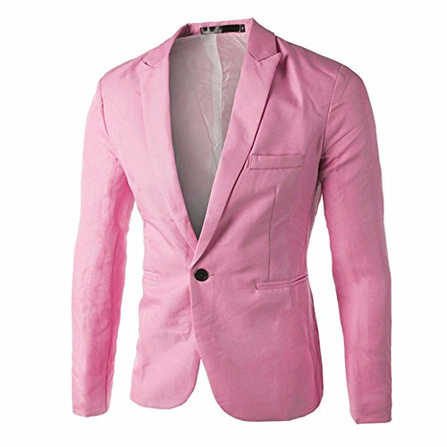 TANGSen Charm Men's Blazer Casual Slim Fit Solid One Button Suit Long Sleeve Blazer Stylish Coat Jacket Tops Pink