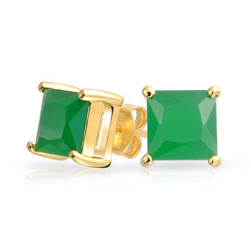 Bling Jewelry Square CZ Princess Cut Simulated Jade Stud earrings Gold Plated (Emerald Jade Earrings)