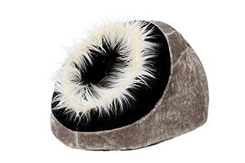 Karlie 65564 Cama Cueva para Gatos con Pelo, 40 x 40 x 28 cm, Negro y Gris: Amazon.es: Productos para mascotas
