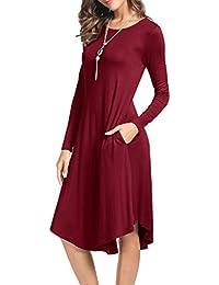 Women's Plain Long Sleeve Pockets Pleated Loose Swing Casual Midi Dress