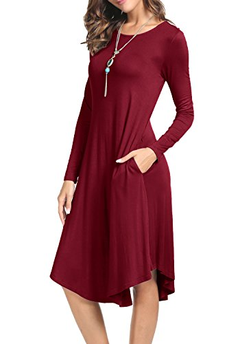 levaca Womens Fall Long Sleeve Pleated Swing Loose Casual Tunic Dress Wine M (Powder Blue Dress)