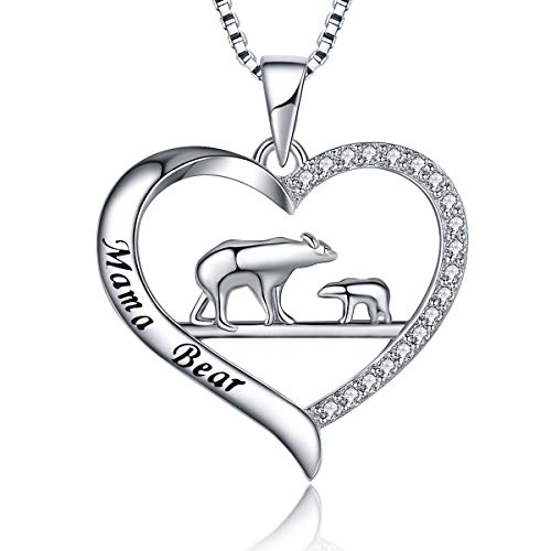 MUATOGIML 925 Sterling Silver Mother and Child Mama Bear Love Heart Pendant Necklace, Family Jewelry Gifts for Women Girls - Bear Pendant Sterling