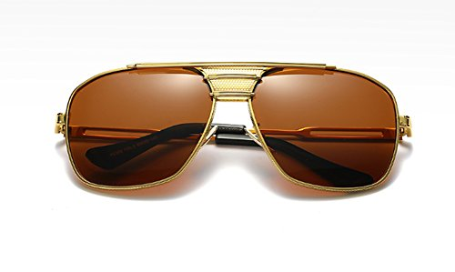 F&W Retro Polarized Sunglasses Unisex Uv Protection Aviator Sunglasses,Brown
