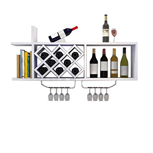 (DUDDP Wine Holder Wall Mount Wooden Wine Rack/Shelf Bottle Holder Wine Glass Storage Unit Floating Shelves Shelving Organiser Countertop Decoration Dispaly Shelf for Daily Home 120x23x36cm)