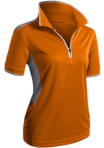 CLOVERY Highly Breathable Quick Drying Short Sleeve Zipup POLO Shirt ORANGE US M/Tag M ()