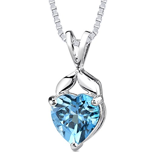 Swiss Blue Topaz Pendant Necklace Sterling Silver 3.00 Carats Heart Shape