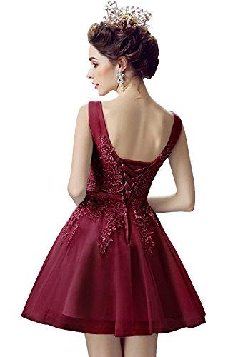 46 Abendkleid Brautjungfernkleid Rückenfrei 32 Wein Prinzessin Tüll Rot Applique Spitzen Kurz Gr Ballkleid MisShow Damen wYxq7TX