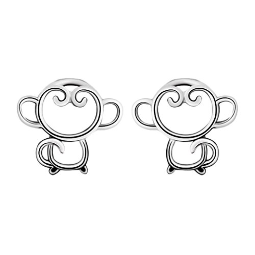 Minimalist Jewelry Women's 925 Sterling Silver Monkey Animal Piercing Stud Earring Girl Christmas Gift (Monkey Silver Sterling)