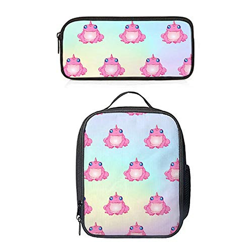 SARA NELL Lunch Backpack Pink Frog Unicorn Lunch Bag&Pencil case Set with Padded Straps for Boys Girls