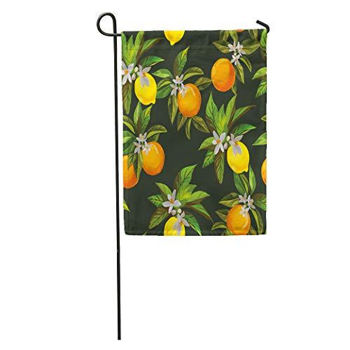 "Emvency Garden Flags 12"" x 18"" Fruit Citrus Pattern Lemons and Oranges Box Vintage Lemonade Bar Cafe Outdoor Decorative House Yard Flag Seasonal"