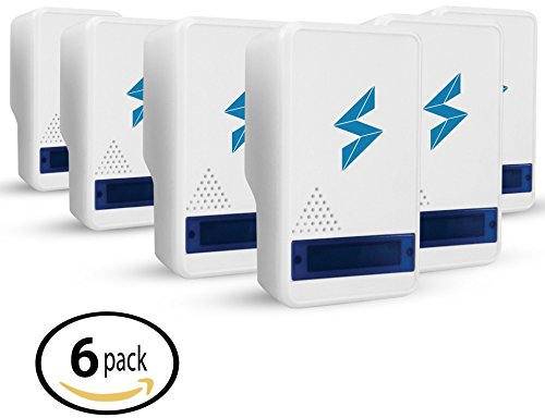 SparkPod Ultrasonic Pest Control Repeller (6 Pack) – Indoor Repellent for Mice, Mosquitoes, Roaches, Spiders, Insects, Rodents – Ecofriendly Bug Repeller–Children & Pet Safe, ()
