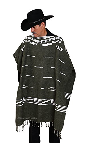 Handwoven Clint Eastwood Spaghetti Western Poncho Made in Mexico (Olive Green)]()