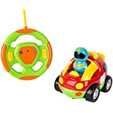 Big Mo's Toys Cartoon RC Race Car – Beginner's Remote Control for Toddlers and Kids with Sounds, Music, Flashing Lights and Removable Driver Action Figure – Easy Steering Wheel Controller