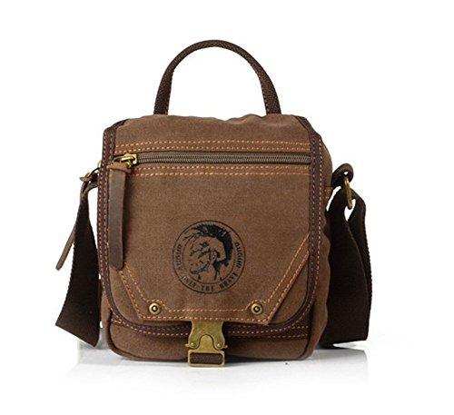 Sechunk Cotton Small Leather Canvas Messenger Bag Shoulder Bag Crossbody Satchel Bag Working Bag Travel Duffel Bag Sports Bag for Men and Women (Cotton Leather Messenger Bag)