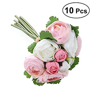 BESTOYARD 10pcs Artificial Flowers Camellia Bridal Wedding Bouquet Bridesmaid Bride Toss Bouquet Home Decoration (Pink & White) 79