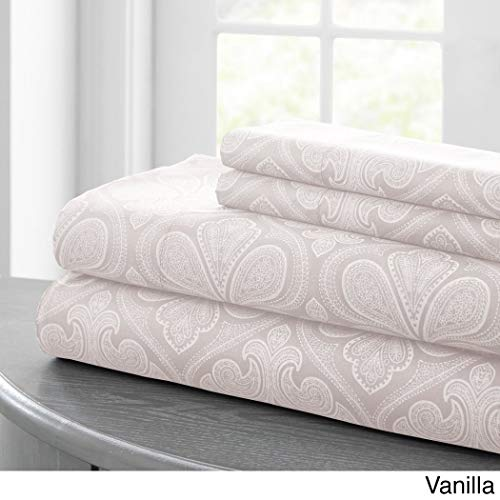 - 4 Piece Vanilla Cream Paisley Floral Pattern Sheets Cal King Set, Elegant Luxury Motif Bohemian Design, Boho Chic Scrollwork Textured Print, Features Fully Elasticized Fitted, Deep Pocket, Microfiber