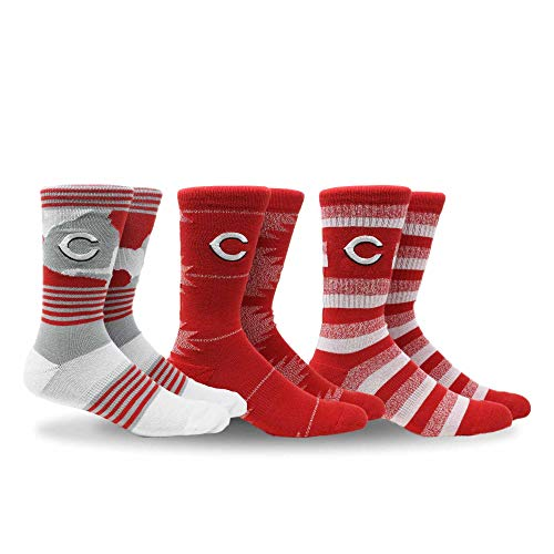 (PKWY by Stance MLB Men's Clubhouse Collection 3-Pack Socks (Large, Cincinnati Reds))