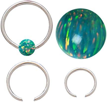 cartilage lip Pair of Gold Synthetic Aqua opal cz gem Captive bead Ring nose tragus eyebrow earring hoop 20g