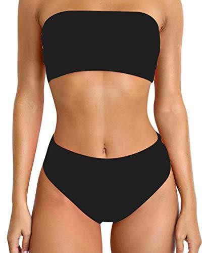 - MOSHENGQI Women High Wasited Bikini Bandeau Strapless High Cut Cheeky Swimsuit (Medium, Black