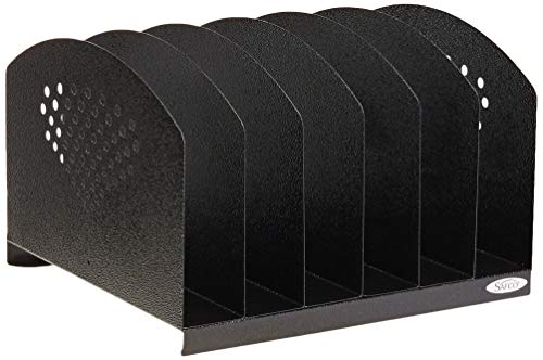 (Safco Products 3155BL Steel Desk Organizer Rack with 6 Vertical Sections, Black)
