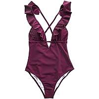 CUPSHE Women's Heart Attack Falbala Deep V Neck Bikini Monokini