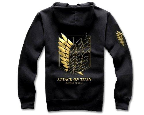 Attack on Titan Cosplay Costume Black Zip Up Hoodie Jacket Size L