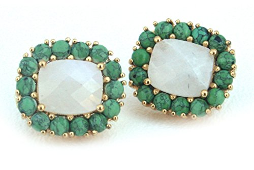 Addison Weeks Reams Stud Earrings Moonstone and Created Green Turquoise