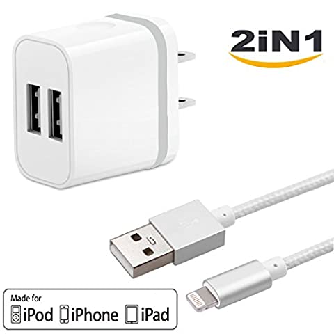 2in1 SEGMOI [Apple MFi Certified] Lightning Charger Cable 3ft/1M Nylon Braided Charging Cord + US Plug Dual USB Port Wall Adapter for iPhone 5 5s SE 6 6S 6Plus 7 7Plus (White-Silver (Wall Adaptor For Iphone 5)