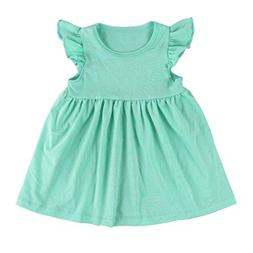 Wennikids Baby Girls' Cotton Flutter Sleeve Dress Medium Turquoise