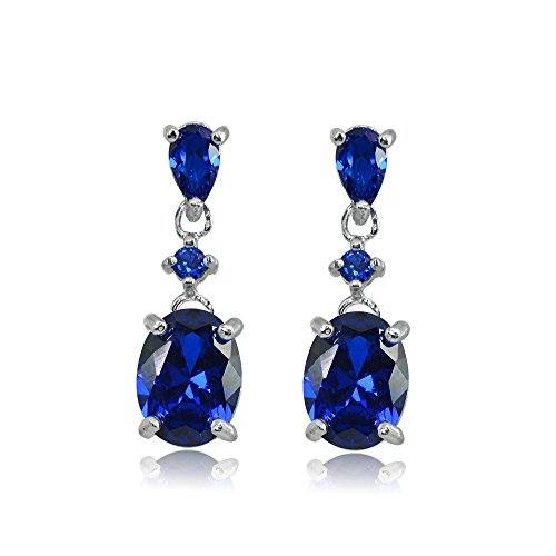 Sterling Silver Created Blue Sapphire Oval Three Stone Dangling Stud Earrings ()