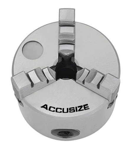 Accusize Industrial Tools 3'' / 80 mm 3 Jaw Plain Back Lathe Chuck, Including a Set of Inside Jaws and a Set of Outside Jaws, - Back Jaw Plain 3