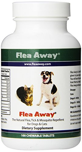 Dogs 100 Tabs - Flea Away The Natural Flea, Tick, And Mosquito Repellent for Dogs and Cats - 100 Chewable Tablets