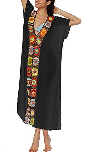 KIDVOVOU Women Summer Boho Crochet Maxi Dress Caftans Beachwear Bikini Cover Up,Black Mother ()