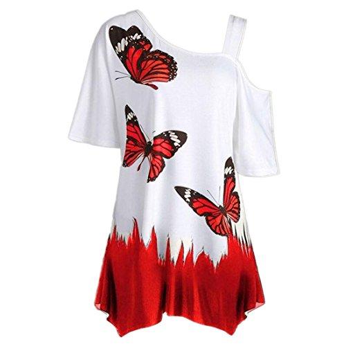 Camicetta Stampa top Donna Rcool shirt Manica Estate Elegante corta Rosso Sexy T casuale sportivo farfalla rxnHqrUw