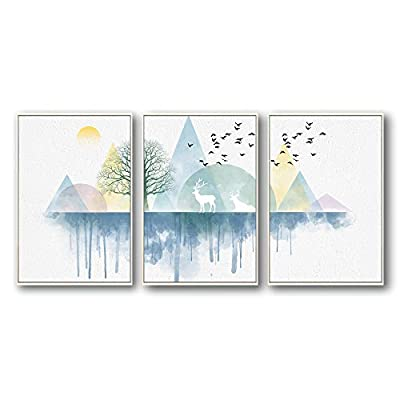 Abstract Geometric Nature And Deer - 3 Panel Framed Canvas (Black Frame)