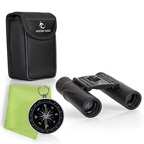 Compact and Lightweight Binoculars for Adults and Kids – 10×25 – Includes Compass – Perfect for Bird Watching, Hunting, Stargazing, Opera, Concerts, Sports, Hiking Outdoors and Travel – with case