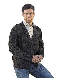 100% Irish Merino Fleck V-Neck Button Aran Sweater by West End Knitwear