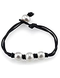 10-11mm Genuine White Freshwater Cultured Pearl Leather Daisy Bracelet for Women