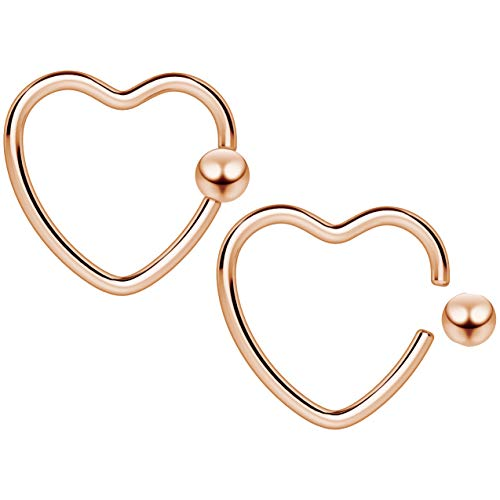 2pc 16g Heart CBR Hoop Captive Bead