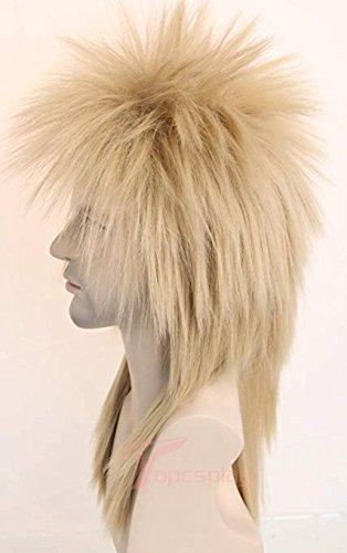 70s 80s Wig for Women Men Couples Halloween Costumes Wig Rocking Punk Rocker Mullet Wig Blonde