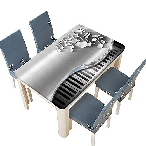 PINAFORE Indoor and Outdoor Tablecloth Music Metal Business Card White Musical Notes and Piano Keyboard on Metal Background Wedding Restaurant Party Decoration W49 x L88.5 INCH (Elastic Edge)
