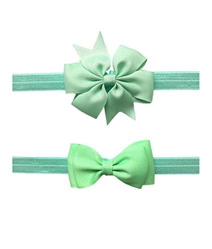 2pc/Set Baby Girls Grosgrain Ribbon Hairband Set Ribbon Bows Hair Tie Headband JB10 (8-Light ()