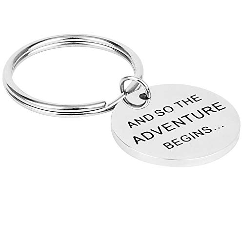 And So the Adventure Begins, Stainless Steel Pendant Keychain Back To School Graduate New Baby Travel Present