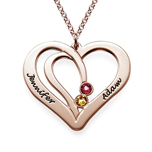(Couples Engraved Necklace Made with Swarovski Crystals 18K Rose Gold Plating)