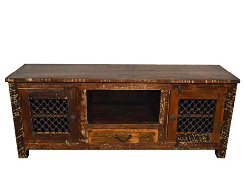 (Reclaimed Wood Rustic Entertainment Center Plasma Cabinet with Iron Grill)